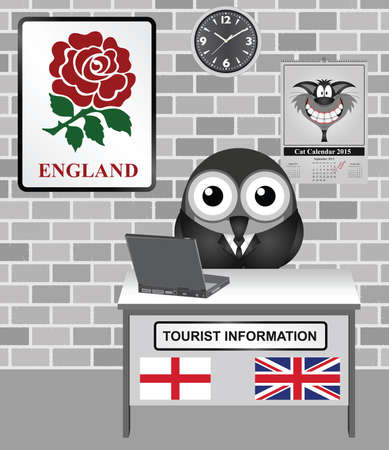 comical: Comical bird tourist guide with England tourism information sign Illustration