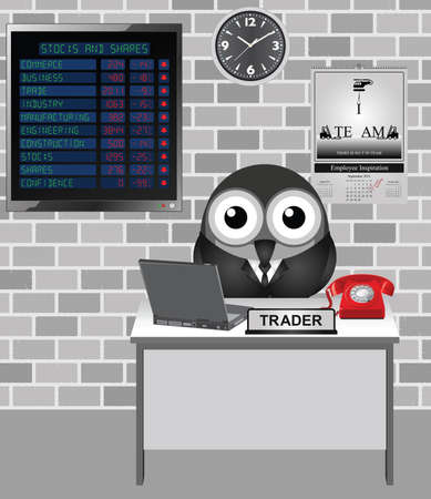 slump: Comical bird city trader with stocks and shares loses on display screen including confidence in the stock market falling