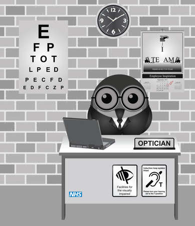 eye exams: Comical bird Optician consulting room with eye test chart