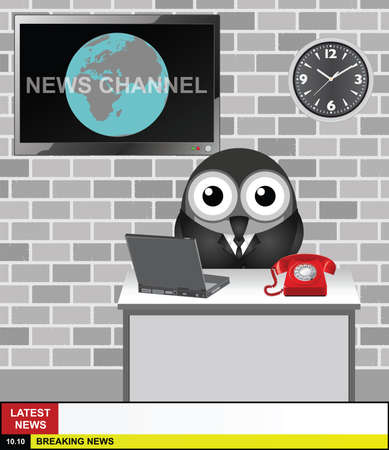 newsflash: World News Channel presenter with copy space for your own text on latest news and breaking news stories Illustration