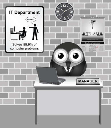 it: Comical bird IT manager with reboot sign