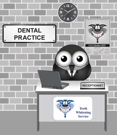 receptionist: Comical bird receptionist at a Dental Practice waiting room Illustration