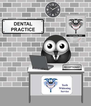 recepcion: Recepcionista aves cómico en una sala de espera Dental Practice