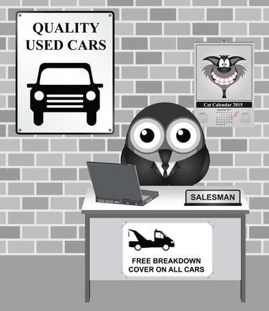breakdown: Comical bird salesman at quality used car showroom advertising free breakdown cover on all car sales Illustration