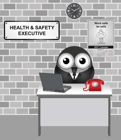 safety at work: Comical bird Health and Safety Executive responsible for enforcing the Health and Safety at Work Act 1974 with work safe be safe calendar on wall Illustration