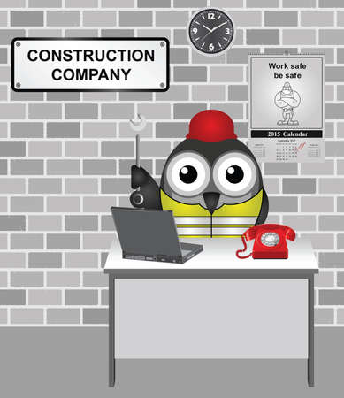 work safe: Comical bird construction worker wearing personal protection equipment PPE hard hat and yellow high visibility vest with work safe be safe calendar on wall
