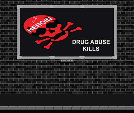 drug abuse: Advertising board on brick wall advertising the dangers of drug abuse