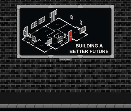 werbebande: Advertising board on brick wall advertising new build residential houses with building a better future message, black background