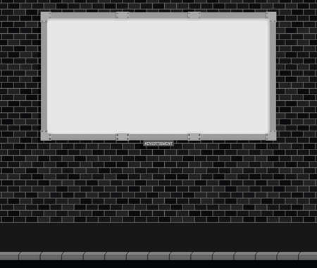 kerb: Monochrome advertising board on brick wall with white background, copy space for own text and graphics Illustration