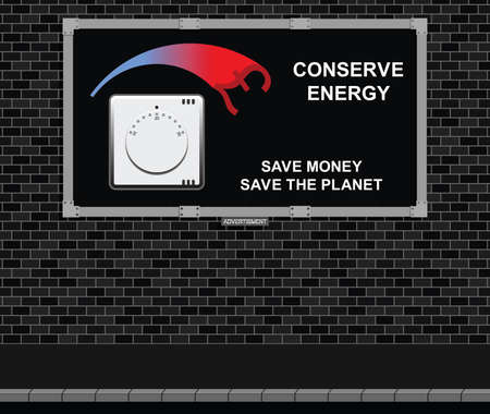 Advertising board on brick wall with conserve energy message pound version