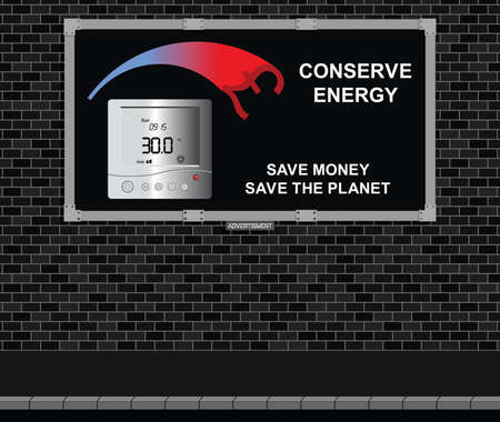 wasteful: Advertising board on brick wall with conserve energy message pound version