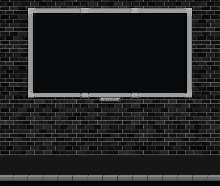 advertize: Monochrome advertising board on brick wall with black background, copy space for own text and graphics Stock Photo