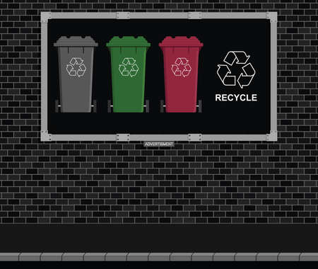 recycling campaign: Advertising board on brick wall with environmental recycle message Illustration