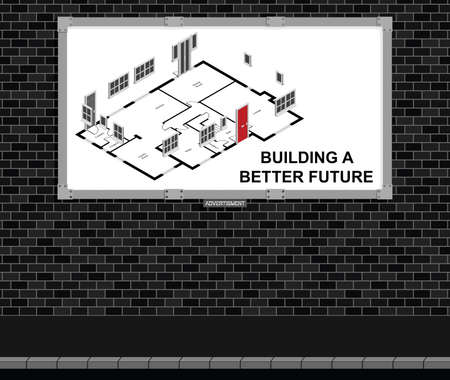 new build: Advertising board on brick wall advertising new build residential houses with building a better future message, white background