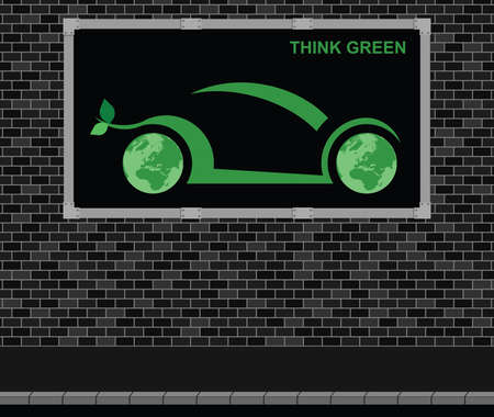 werbebande: Advertising board on brick wall advertising think green car technology