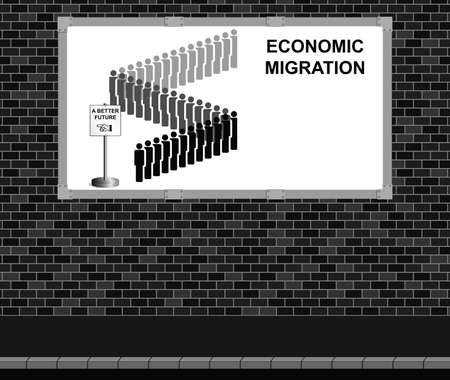 queuing: Advertising board on brick wall representing economic migrants queuing for a better future with copy space for addition text Illustration