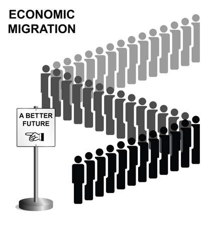 migrant: Representation of economic migrants queuing for a better future isolated on white background