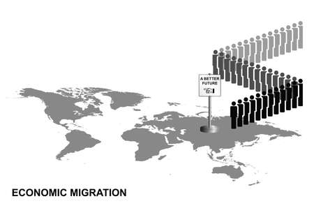 frontiers: Representation of economic migrants queuing for a better future on world map isolated on white background Illustration