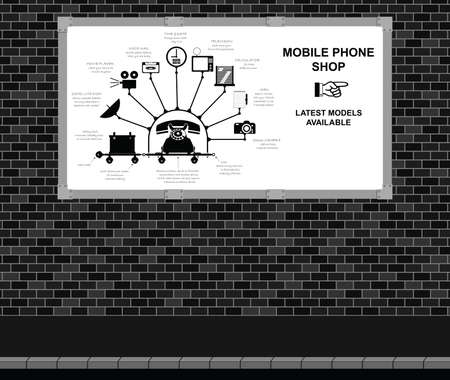 advert: Advertising board on brick wall with comical mobile phone shop advert