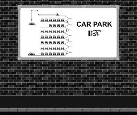 multi storey: Advertising board on brick wall advertising direction to multi storey car park