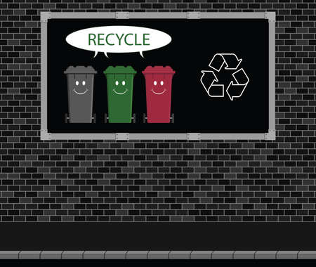 wheelie: Advertising board on brick wall with recycle message and happy recycle wheelie bins