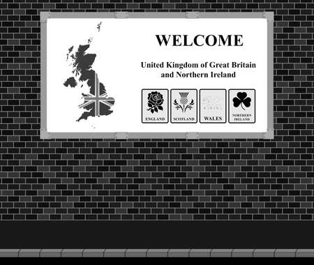 cymru: Advertising board on brick wall advertising welcome to the United Kingdom