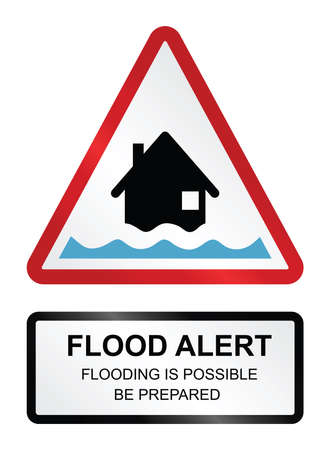 Amber flood alert warning sign isolated on white background Ilustracja