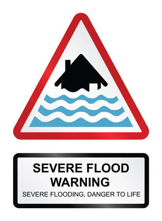 torrent: Red severe flood warning sign isolated on white background