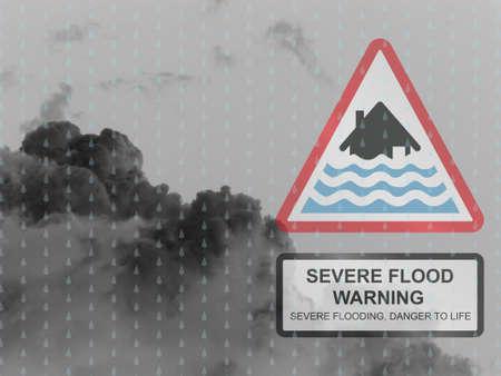 meteo: Grave segnale di avvertimento diluvio contro un oscuro piove skyscape nuvoloso
