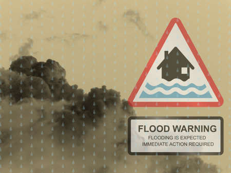deluge: Red flood warning sign against a dark raining cloudy skyscape Stock Photo