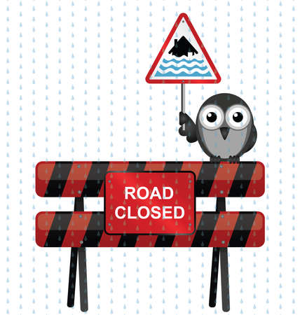torrential rain: Road closed barrier with bird holding severe flood warning sign