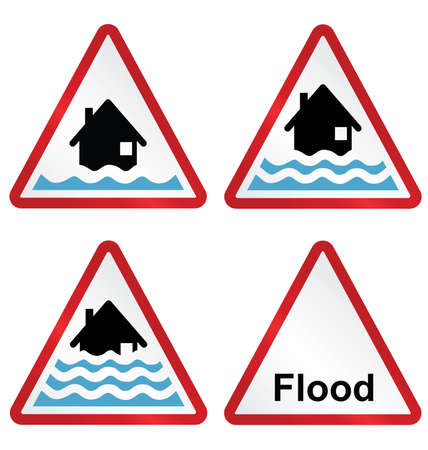 Flood alert flood warning and severe flood warning weather sign collection isolated on white background