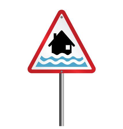 Red Hochwasseralarm Warnschild befestigt, um zu Posten isoliert auf weißem Hintergrund