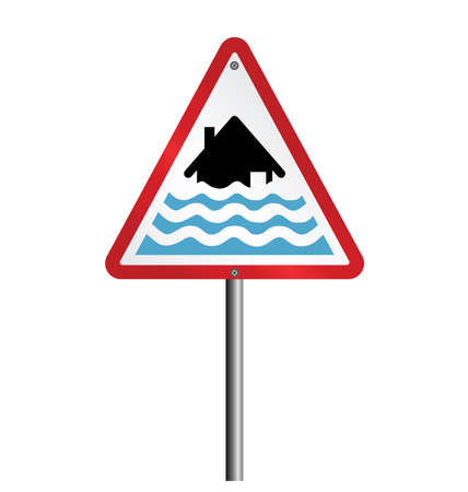 deluge: Severe flood alert warning sign fixed to post isolated on white background