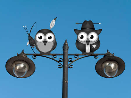 roost: Native American and Sheriff perched on a lamppost against a clear blue sky