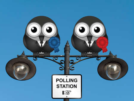electioneering: Comical left wing and right wing politicians with polling station direction sign perched on a lamppost against a clear blue sky