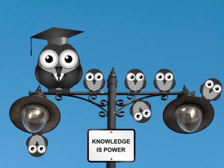 college girl: Comical teacher and students with knowledge is power sign perched on a lamppost against a clear blue sky Stock Photo