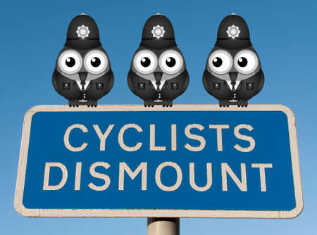lawman: Comical flock of policemen birds perched on a Cyclist Dismount road sign against a clear blue sky