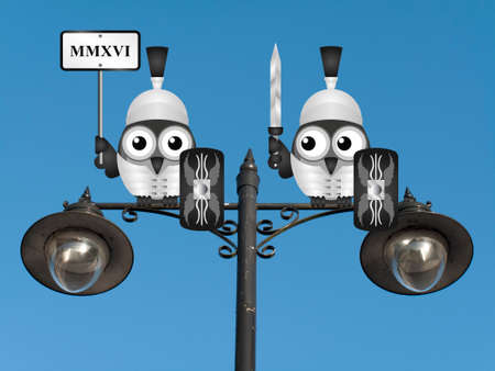 roost: Comical centurion with the year 2016 expressed in Roman numerals MMXVI perched on a lamppost against a clear blue sky Stock Photo