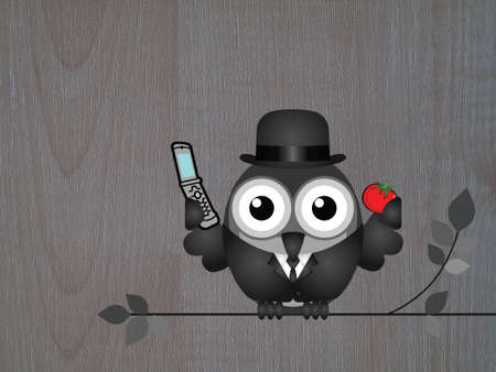 wood grain background: Comical bird businessman perched on a branch with mobile telephone against wood grain background Stock Photo
