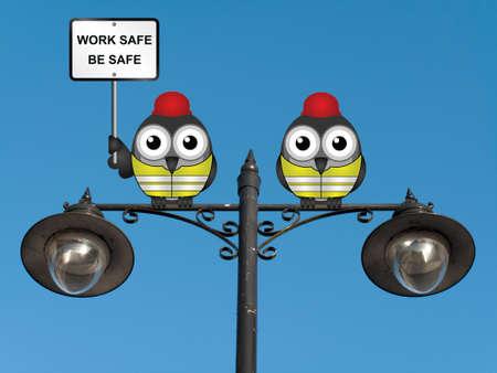 elementos de protecci�n personal: Trabajo seguro de salud sea seguro y mensaje de seguridad con las aves trabajador de la construcci�n con equipos para protecci�n personal posado en un poste de luz contra un cielo azul claro
