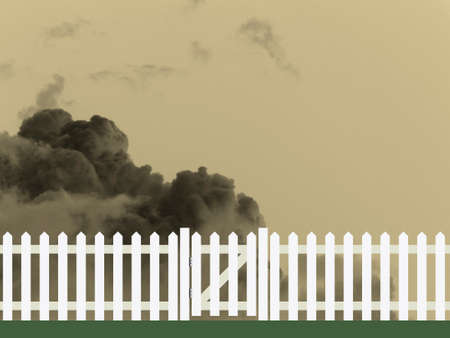 gates: White picket fence and gate against a cloudy sky backdrop