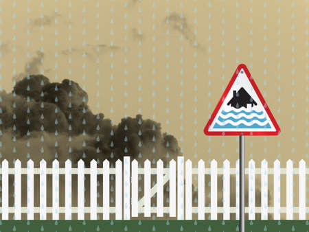 gates: Severe flood warning sign and white picket fence and gate Stock Photo