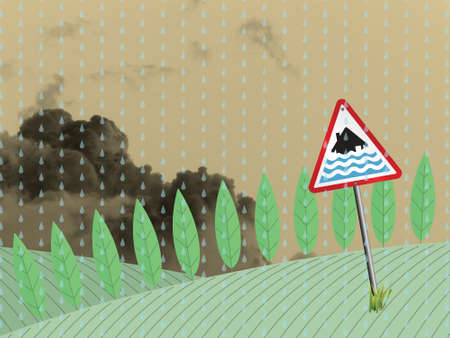 deluge: Farmland landscape with severe flood warning sign against a cloudy sky backdrop Stock Photo