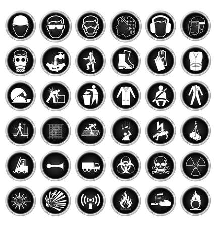 Black and white construction manufacturing and engineering health and safety related icon collection isolated on white background