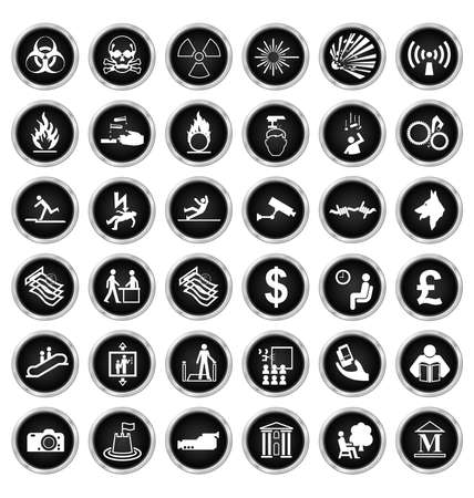 volatile: Black and white warning hazard security office finance and entertainment related icon collection isolated on white background