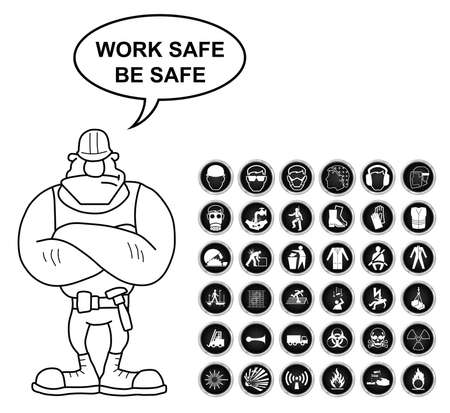 safety harness: Black and white construction manufacturing and engineering health and safety related icon collection isolated on white background with work safe be safe message