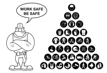 safety harness: Black and white construction manufacturing and engineering health and safety related pyramid icon collection isolated on white background with work safe message