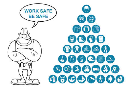 work safe: Blue construction manufacturing and engineering health and safety related pyramid icon collection isolated on white background with work safe message