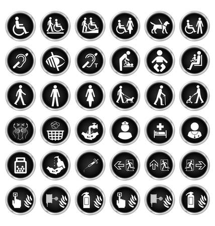 escape route: Black and white disability people medical and fire escape route related icon collection isolated on white background Illustration
